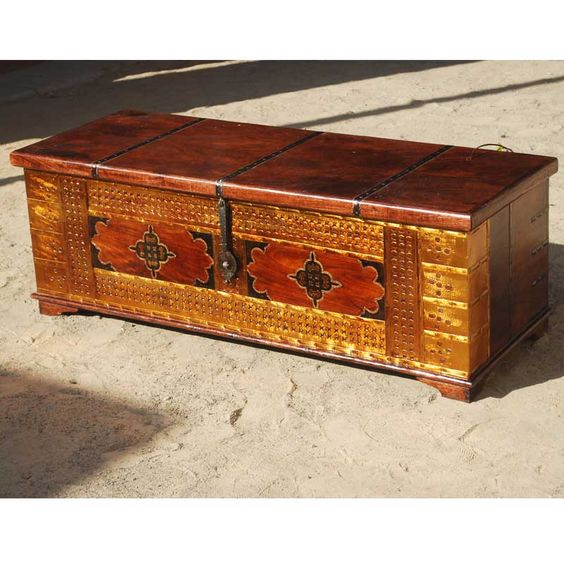 Unique Handmade Solid Wood Brass Coffee Table Storage Chest Storage Chest Tables And Short Legs