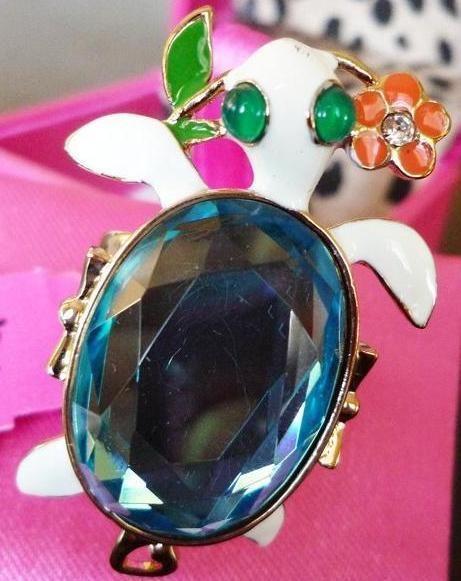 NWT Betsey Johnson Enamel Crystal Turtle Ring Size 7.5 #Ring