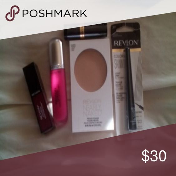 Revlon beauty lot Colorstay lip stain in passion, matte lipcolor pink, love that pink lip stick, skinny tip eye liner, nearly naked pressed powder light pale Revlon Makeup