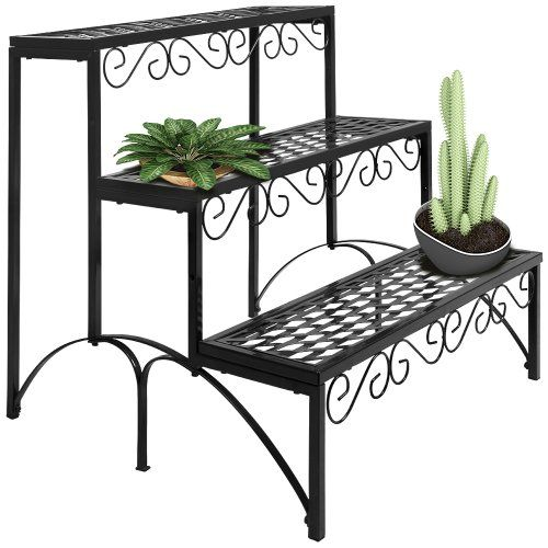 etagere jardin metal pot porte fleurs plantes 60x70x60cm. Black Bedroom Furniture Sets. Home Design Ideas