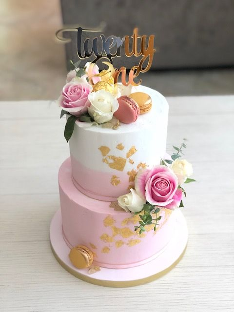 Pink And Gold Buttercream 21st Birthday Cake With Images 21st