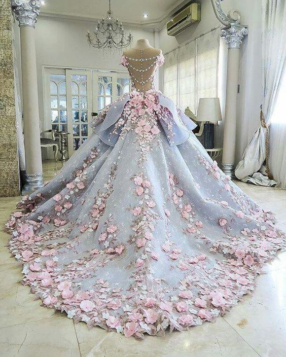 Wedding dress with lace flowers pink vintage unique elegant ball gown: