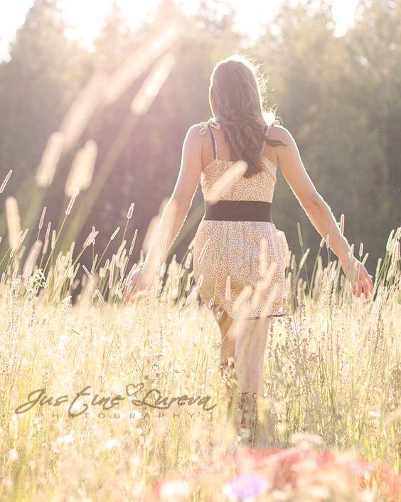 Girl in Meadow Field
