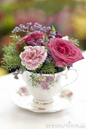 Flowers in a teacup: