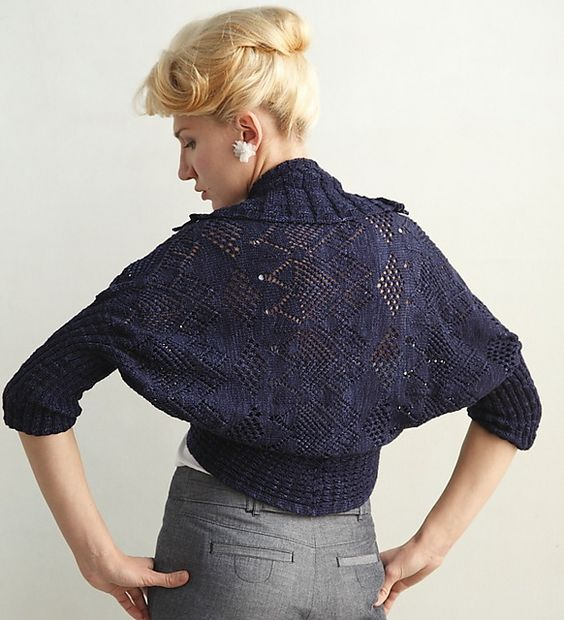 hug-me-tight cardigan  by Teva Durham    Published in   Loop-d-Loop Lace: More than 30 Novel Lace Designs For Knitters