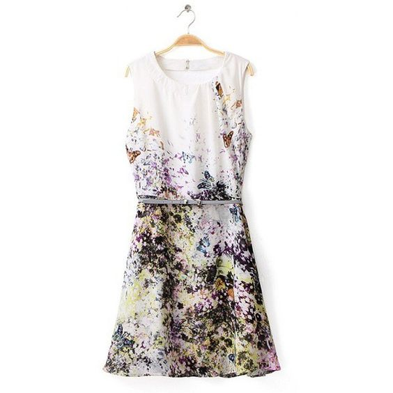 Stylish Round Collar Tiny Floral Print Backless Sleeveless Dress with Belt For Women