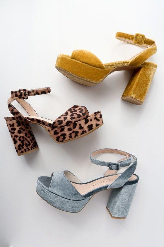 Theresa Steel Blue Velvet Platform Heels 2 Coolshoeshighheels