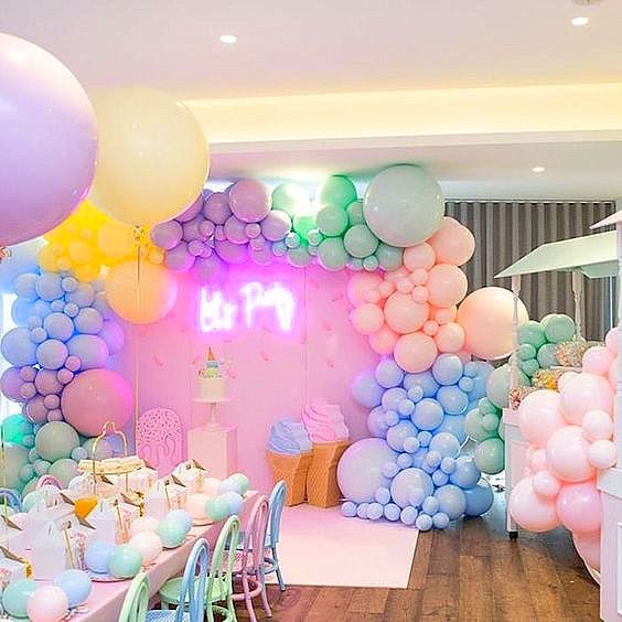 What A Fun Pastel Ice Cream Party Balloons Showerideas Eventdecor Birthdayparty Babys Birthday Balloon Decorations Baby Birthday Balloon Pastel Birthday
