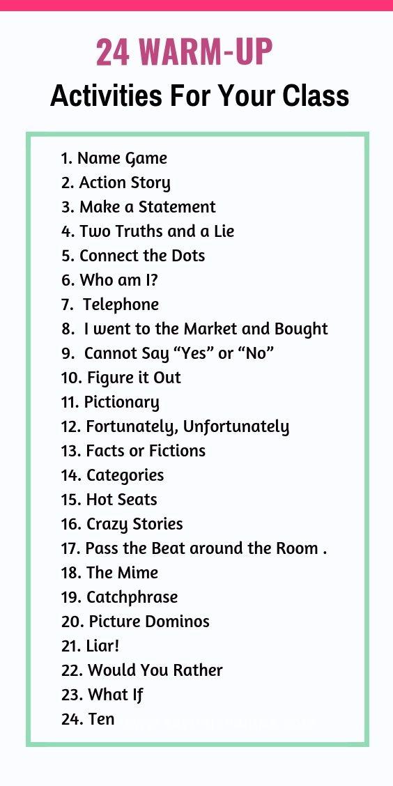 24 Warm Up Activities For Students To Speak Up Public Speaking Activities Student Activities Speaking Activities