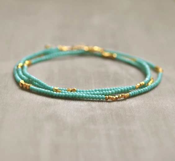 Turquoise Seed Bead Necklace/Bracelet with Gold Vermeil Beads Boho Chic Layering Jewelry: