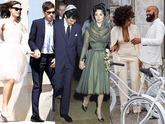 Famosas que no eligieron el típico vestido de novia