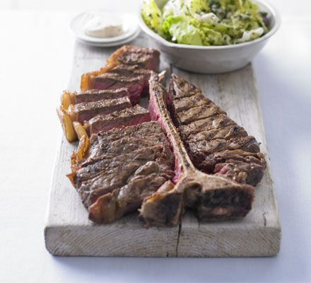 Chargrilled steak with English lettuce & herb salad & anchovy butter