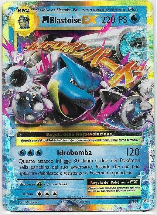 Pokemon Mega M Blastoise Ex 22 108 Rara Holo Evoluzioni The