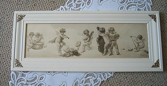 c1897 CUPID Print Virgilio Tojetti Yard Long Panel Cherub Fairy, available from Victorian Rose Prints, exclusively on Ruby Lane!