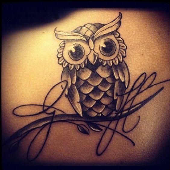 Super cute owl tattoo....I want this!! :):) | Peace, love ...