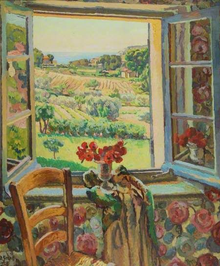 ... and wallpaper to match the view.... Duncan Grant 'Window, South of France' 1928 - First Known When Lost