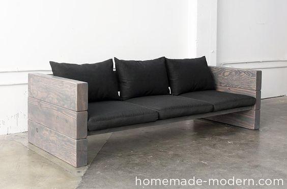 Neue DIY Idee. Eine absolute Designer-Couch aus Holzbohlen. Detaillierte Anleitung mit Video. Bau es dir! #diy