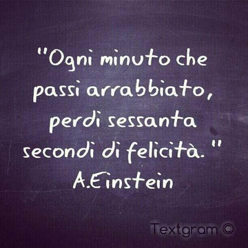 """""""Ogni minuto che passi arrabbiato perdi 60 secondi di felicita"""" Einstein:"""