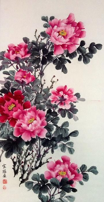 Peony Flower - Chinese Painting by Lin Hai #flower: