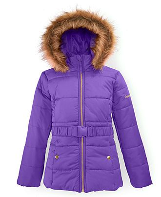 Protection Systems Girls' Belted Puffer Coat - Cosmic Purple | LiL