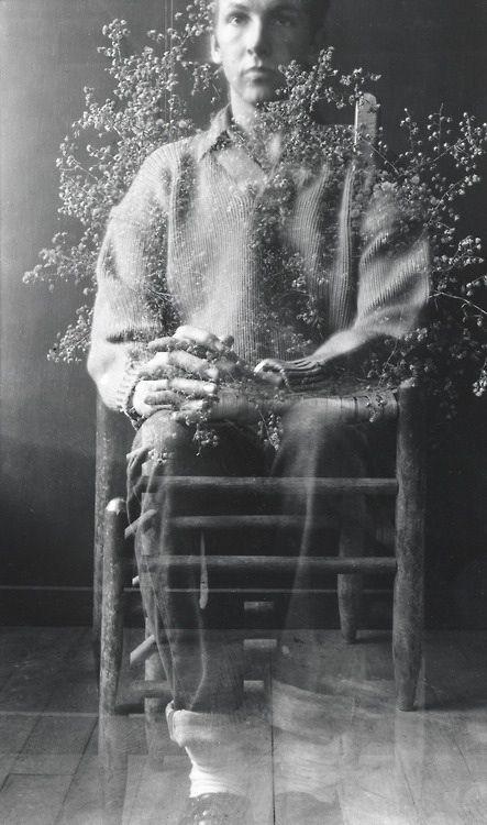 Robert Rauschenberg, Postcard Self-Portrait, Black Mountain (I), 1952. Gelatin silver print, 5 5/8 x 3 1/4 in. (14.3 x 8.3 cm). Robert Rauschenberg Foundation; © Robert Rauschenberg Foundation / Licensed by VAGA, New York, NY