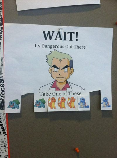 WAIT! It's dangerous out there... take one of these:  [Pokemon]