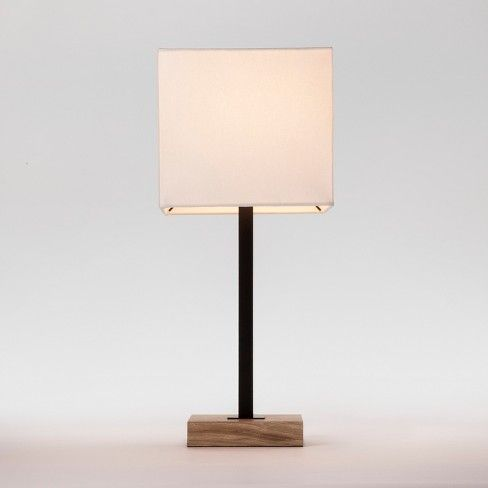 Light Up Your Beautiful Decor With The Wood Square Base Table Lamp From Project 62a This Modern Table Lamp Artf Black Table Lamps Table Lamp Table Lamp Wood