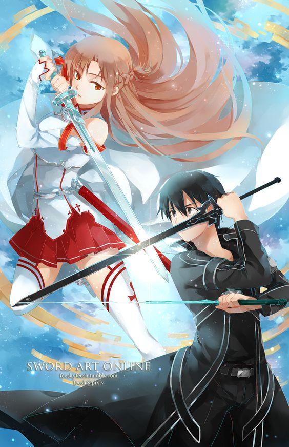 Kirito, Asuna e Yui | Schwertkunst online, Schwertkunst