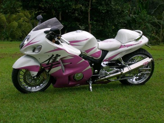 Motorcycle White Motorcycle Cars: Pink And White Hyabusa