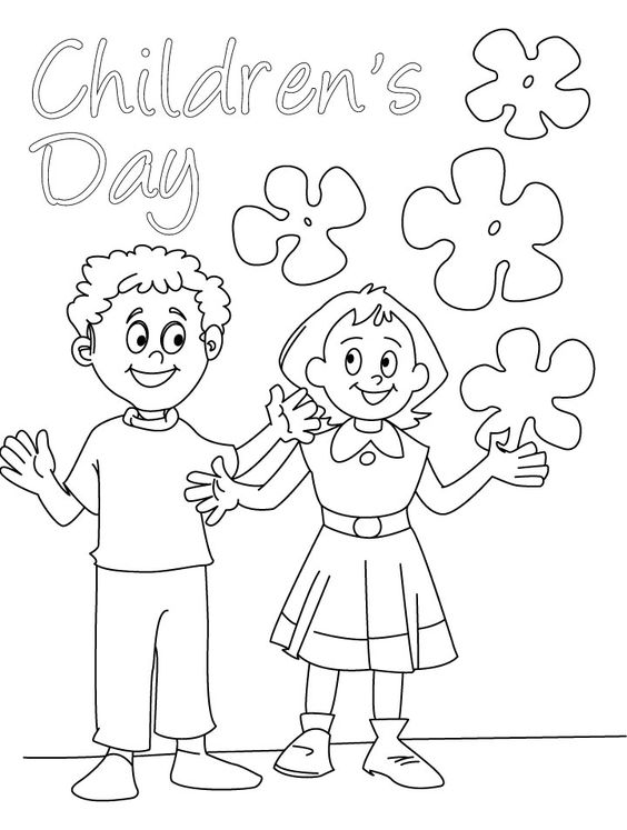 Childrens day wishes coloring page card