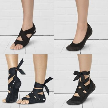 """Nike Studio Wrap Pack, """"a three-part studio system"""" that includes an arch-supporting ribbon, a flexible flat, and a toeless sandal-designed specifically for barre, Pilates, and yoga"""
