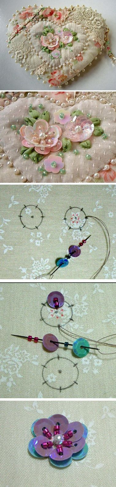 If i ever get the time and inclination again... Idea for small purse or needle keep - and sequin flower how-to.: