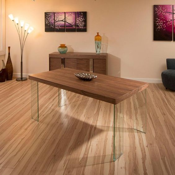 Modern Quality Large Rectangular Walnut Dining Table Glass Legs ...