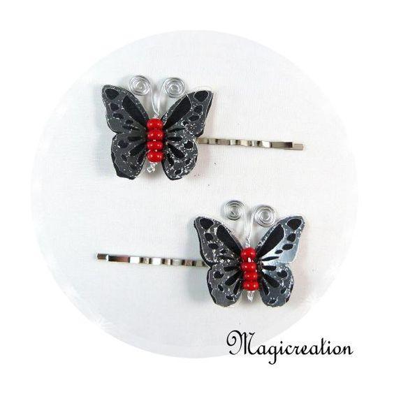 PINCES PAPILLONS NOIR ET ROUGE - Boutique www.magicreation.fr