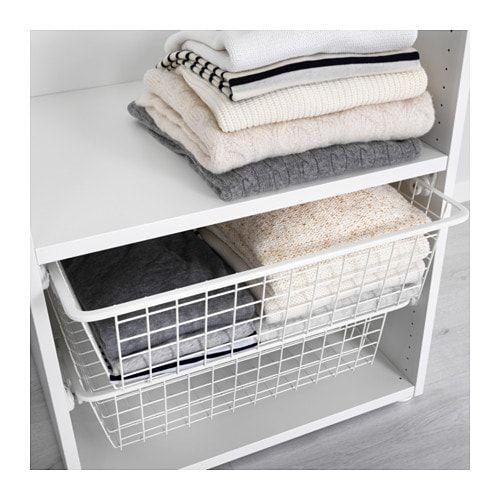 Hjalpa Cesto Rejilla Riel Extraible Blanco 60x40 Cm Ikea Wire Baskets Ikea Storage Baskets Bedroom