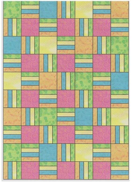 Easy Quilt Patterns Rail Fence : Four square, Quilt patterns free and Easy patterns on Pinterest