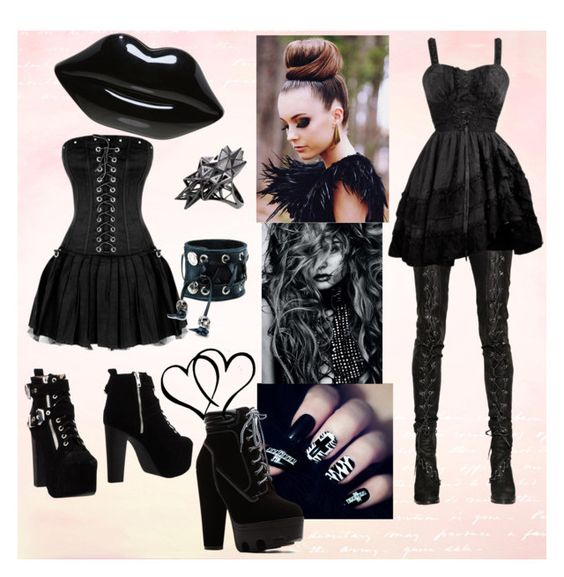 Gothic by amila677 on Polyvore featuring polyvore fashion style A.F. Vandevorst Jeffrey Campbell Lulu Guinness Funk Plus John Brevard Magdalena women's clothing women's fashion women female woman misses juniors