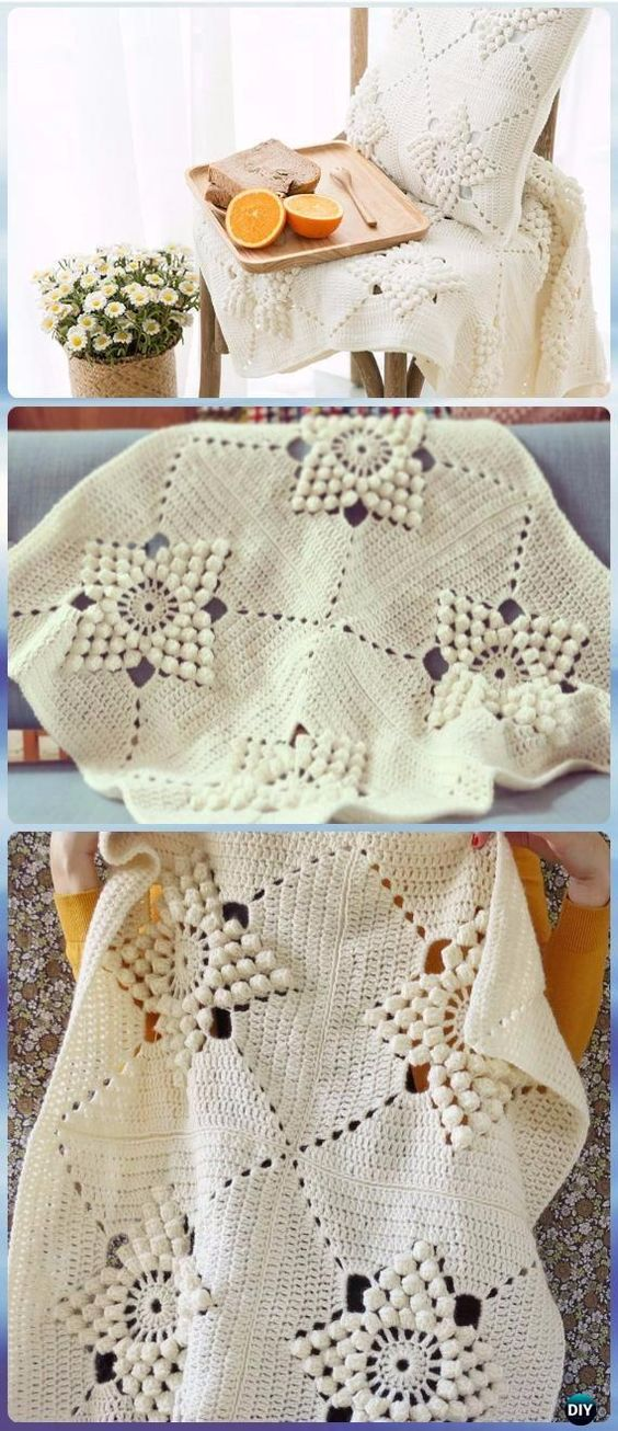 Crochet Embossed Popcorn Flower Smitten Blanket Free Pattern - Crochet Summer Blanket Free Patterns