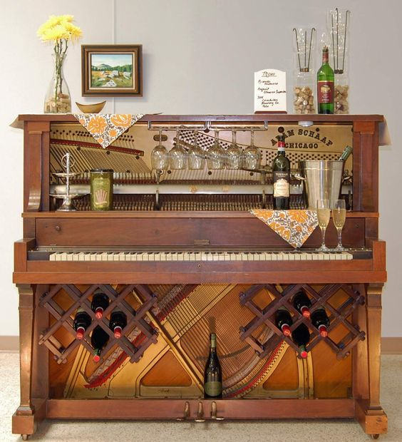 old piano turned into a bar - Google Search