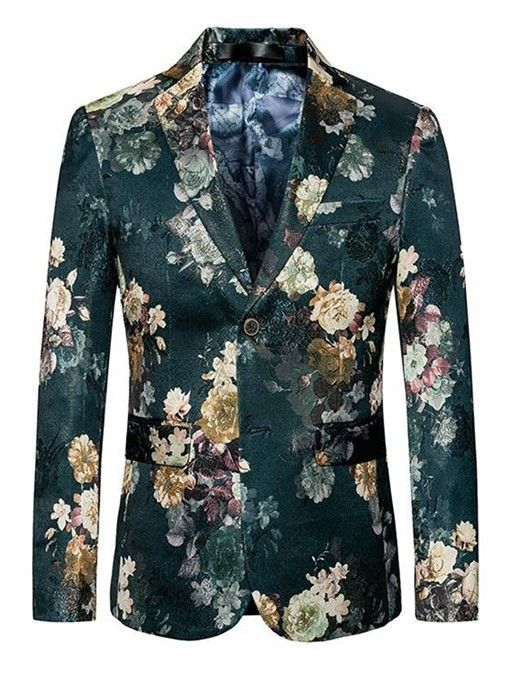 MOGU Mens Single Breasted Navy Floral Printed Blazer Jacket Slim Fit Sport Coat