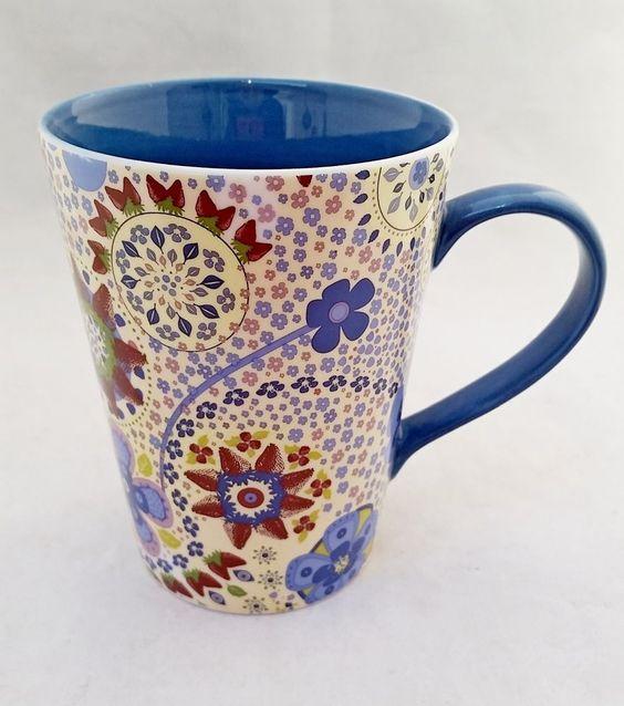 Starbucks 2007 mug 13 Oz, flowers in blue jeans Red Lime Green lavender colors  #STARBUCKS