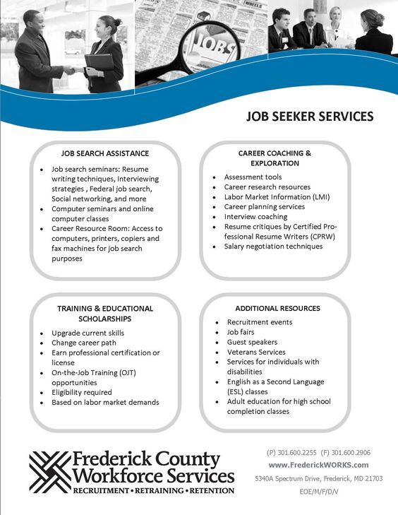 A summary of our services for Job Seekers About Frederick County - coaching resume