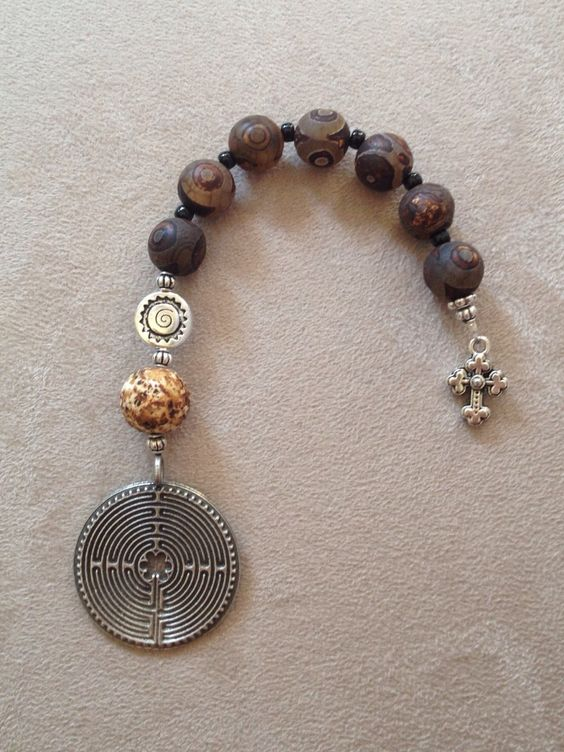 Handmade smaller pocket Anglican-Christian prayer beads using a labyrinth.