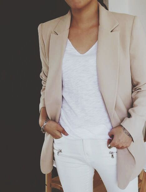 white pants with zippers + light camel jacket: