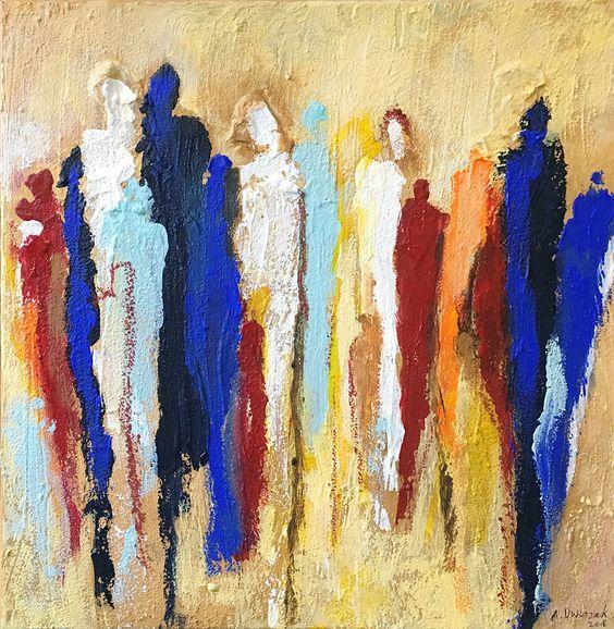 Acrylmalerei - SPAZIERGANG 40x40 cm Bild Malerei Menschen Figuren - ein Designerstück von Dworzak bei DaWanda
