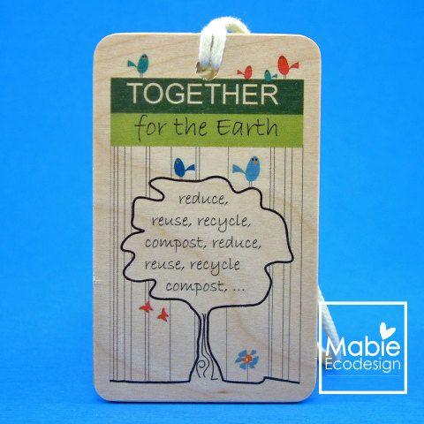 Identificateur de sac - Ensemble pour la terre - accessoire en bois - fait au Québec - Création originale de la boutique MabieEcodesign sur Etsy