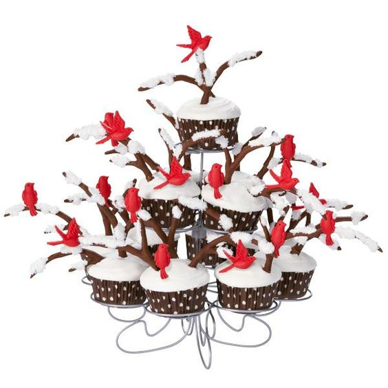 Winter Perch Cupcakes - A peaceful scene for your holiday table. Cupcakes are crowned with snow-dusted fondant branches and birds made in the Nature Fondant and Gum Paste Mold.