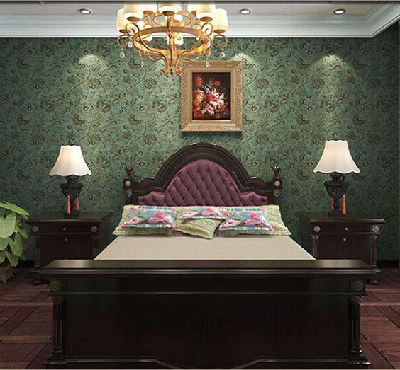 Pas cher pvc pays style vintage vert fonc fond fleur de - Photo de papier peint pour salon ...