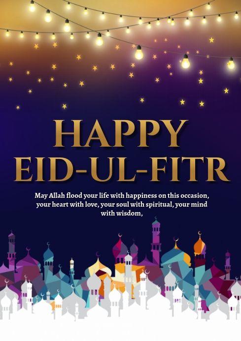 Pin By Postermywall On Eid Poster Templates Happy Eid Happy Eid Ul Fitr Eid Greeting Cards