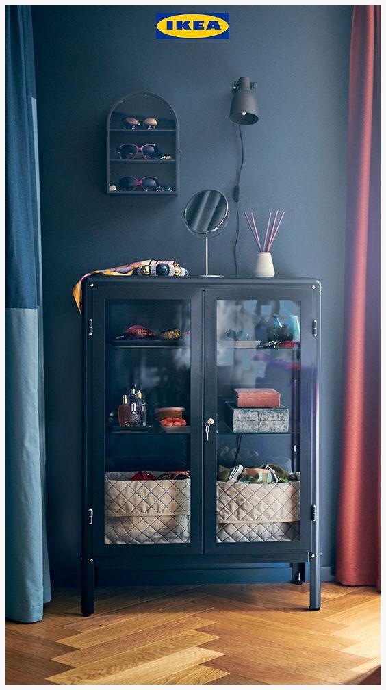 FABRIKÖR Glass door cabinet, black blue
